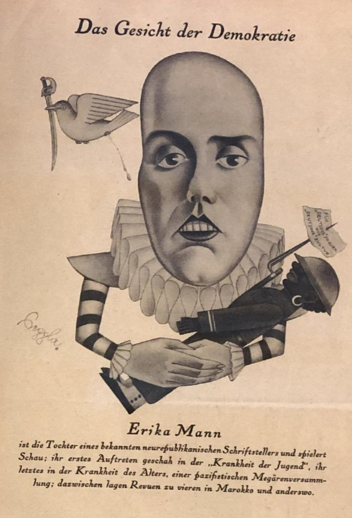 Erika Mann karikiert von der Brenessel, als Gesicht der Demokratie vom 3. Februar 1932