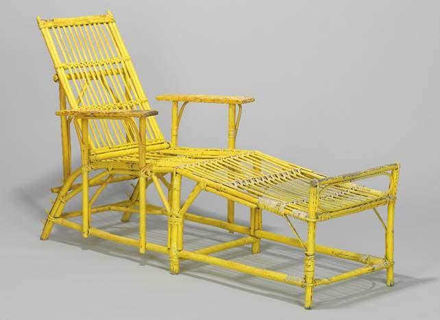 Mythos Davos: Gelb lackierter Liegestuhl aus dem berühmten Kurhaus Holsboer (heute Hotel Europe), ca. 1930 ©Germanisches Nationalmuseum, Nürnberg