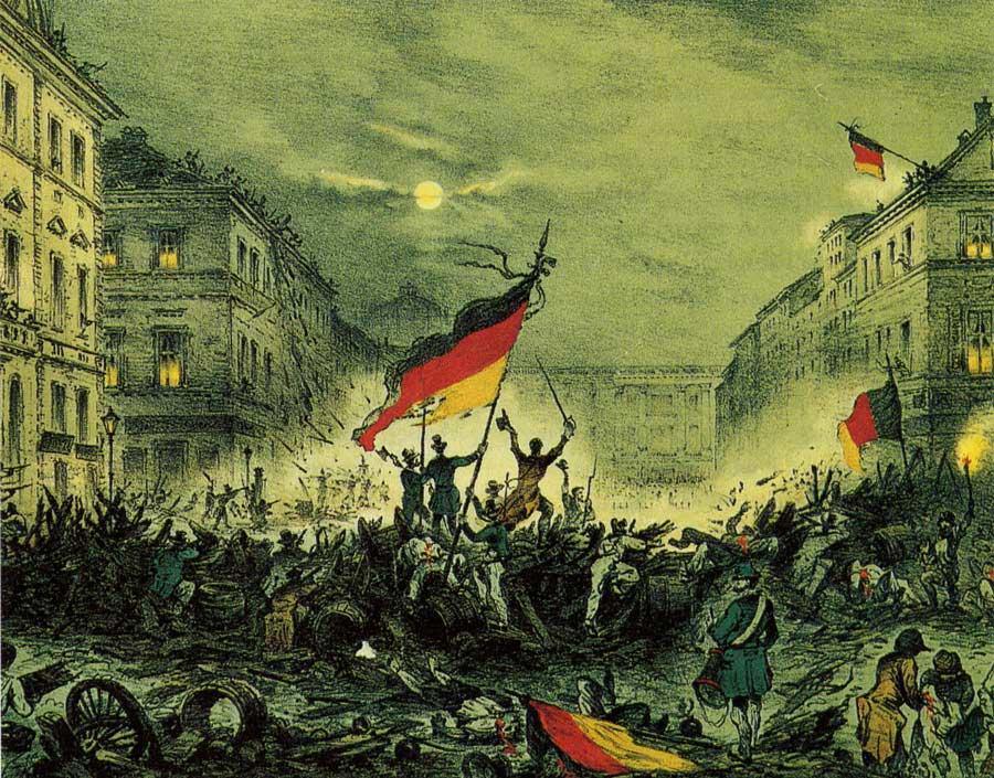 Jubelnde Revolutionäre nach Barrikadenkämpfen am 18. März 1848 in der Breiten Straße in Berlin, Wikimedia Commons, gemeinfrei.