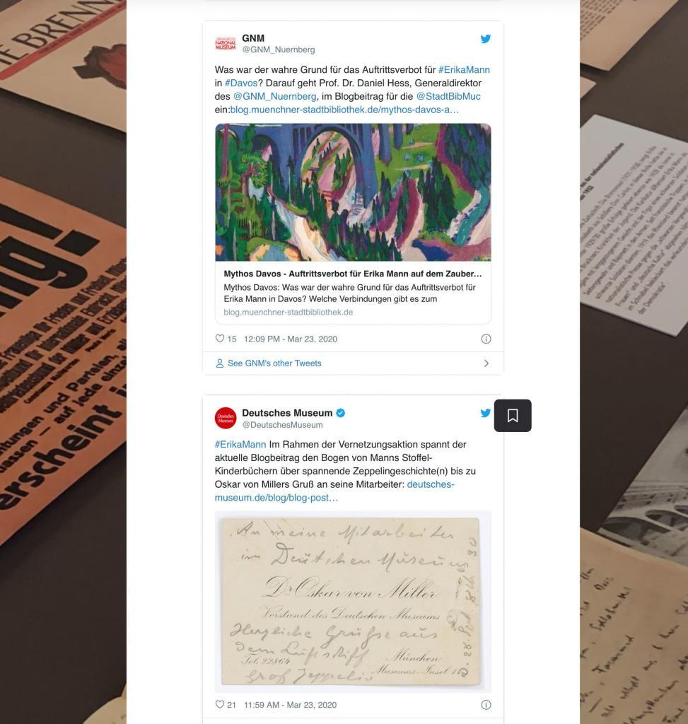 Das Deutsche Museum und das Germanische Nationalmuseum gestalten mit uns digitale Kulturvermittlung in Blogposts zur Vernetzungsaktion #ErikaMann, hier ablesbar in der Collection zur Aktion.