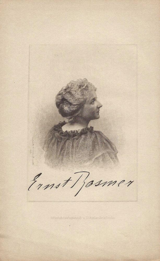 Elsa Bernstein alias Ernst Rosmer. Halbporträt. Radierung von Johann Lindner, München 1899, mit faksimilierter Unterschrift der Porträtierten. #femaleheritage