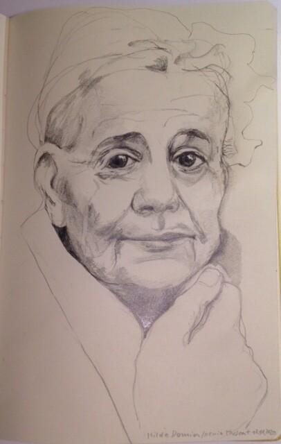 Porträt-Zeichnung, Hilde Domin von Xenia Muscat.