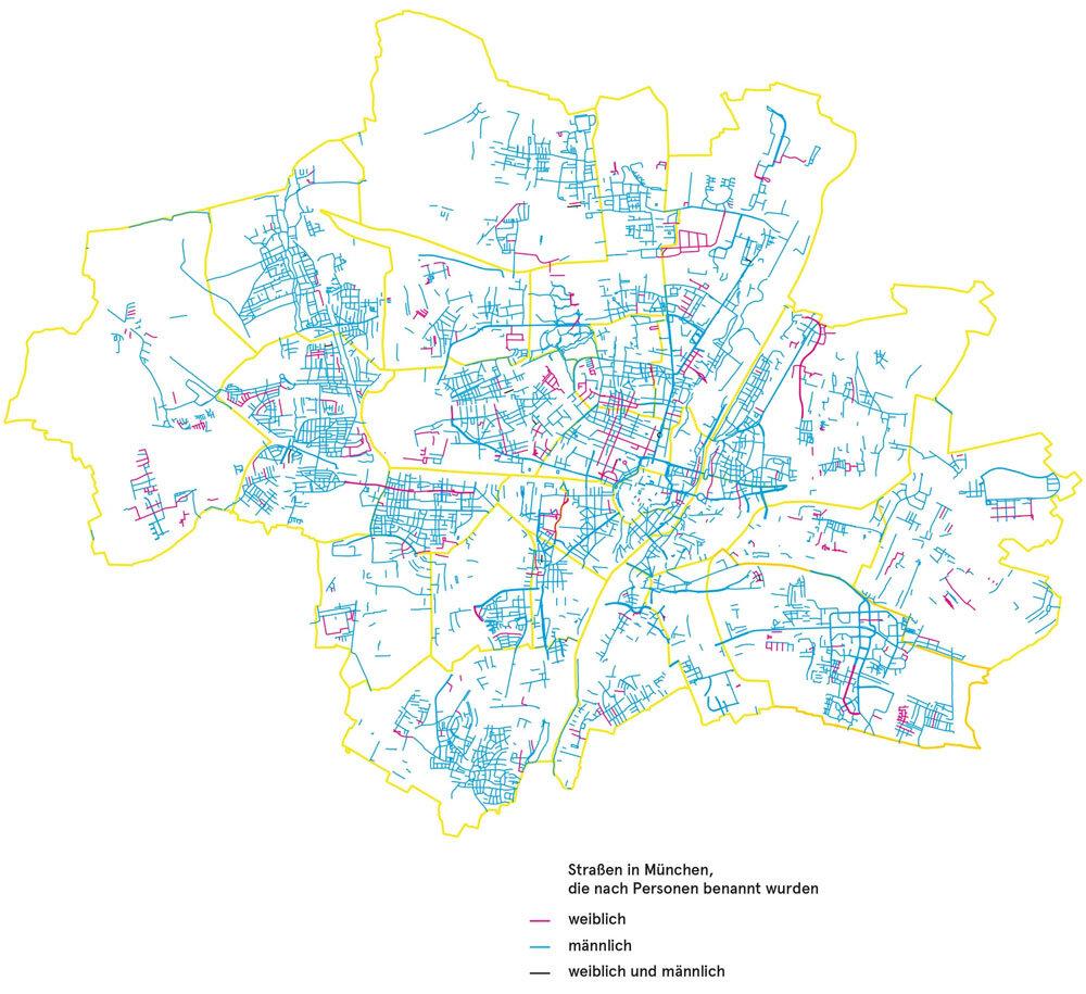 Verteilung der Straßennamen in München. Quelle: Stadtarchiv München, Geodatenservice München, Kommunalreferat München | #femaleheritage