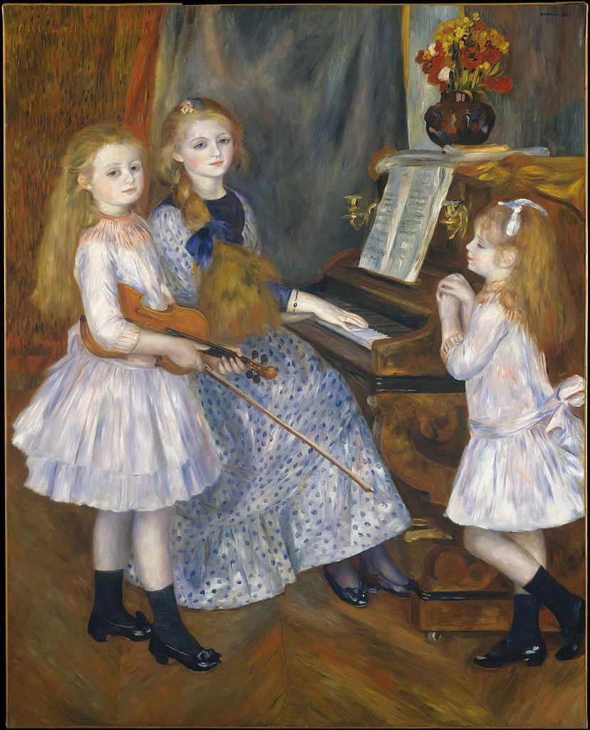 Porträt der Töchter von Catulle-Mendès am Klavier, Pierre-Auguste Renoir, Public domain, via Wikimedia Commons #femaleheritage