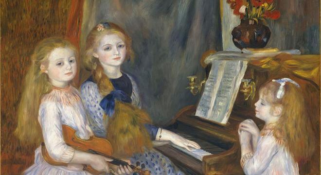 Porträt der Töchter von Catulle-Mendès am Klavier, Pierre-Auguste Renoir, Public domain, via Wikimedia Commons