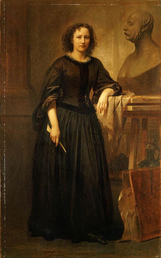 Elisabet Ney, die Büste von Bismarck bearbeitend. Porträt von Friedrich Kaulbach, 1860. Niedersächsisches Landesmuseum Hannover #femaleheritage