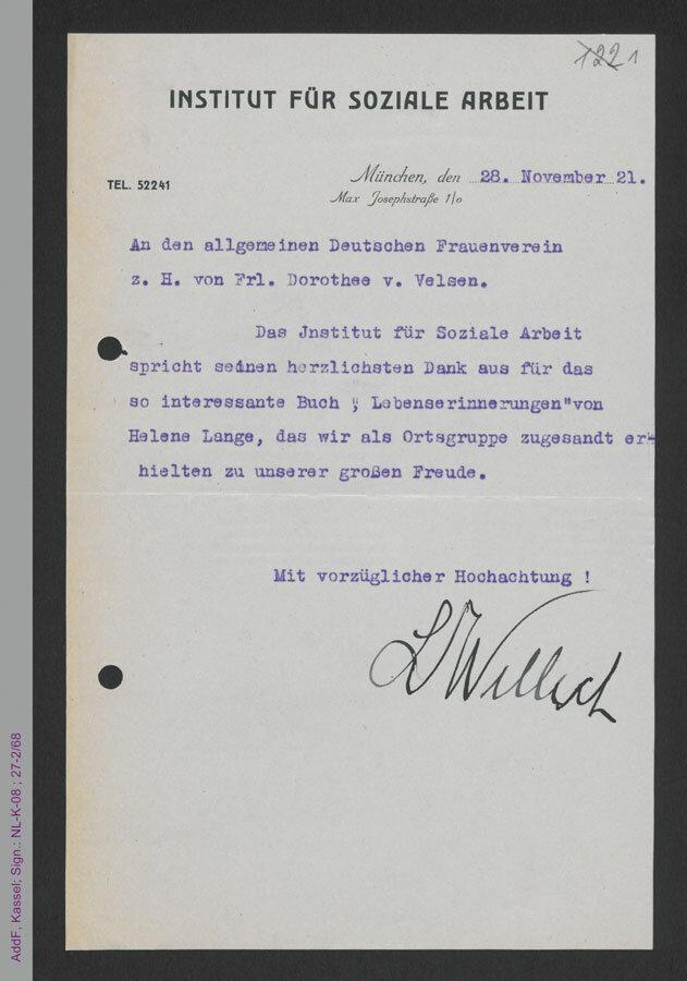 """Dankschreiben des Instituts für Soziale Arbeit an Dorothee von Velsen für das Zusenden der Autobiografie """"Lebenserinnerungen"""" von Helene Lange, 1921 (AddF, Kassel, Sign. NLK08_27-02-068)"""