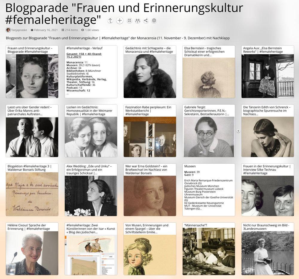 """Pearltrees: Dokumentation der Blogparade """"Frauen und Erinnerungskultur   #femaleheritage"""", strukturiert nach Hintergrund der Teilnehmenden."""