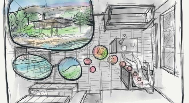 Mensur Demir: Zeichnung zu Stadt – Land – Geld