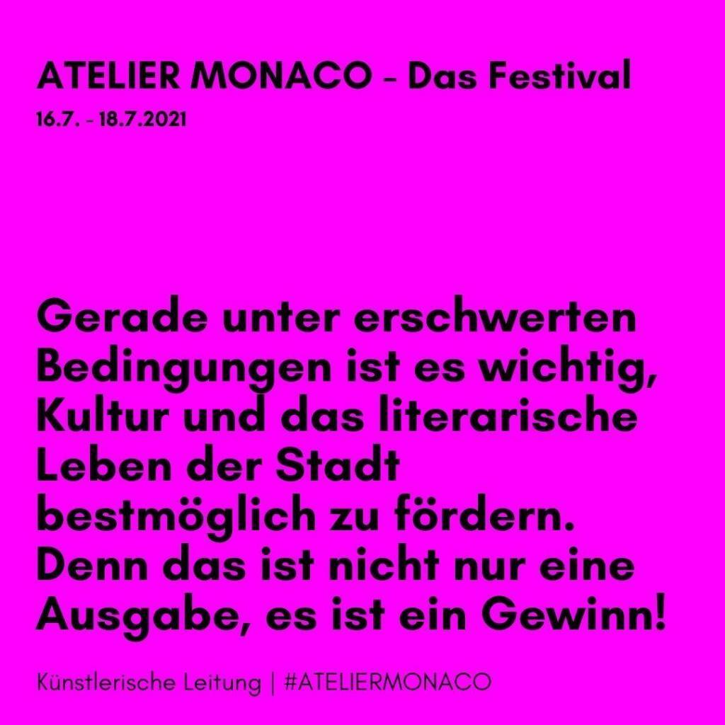 Auf unserem Instagram-Kanal bieten wir Euch ab heute Hintergrundinformationen zur den Autor*innen und Künstler*innen des Atelier Monaco Festival - gekennzeichnet mit #ATELIERMONACO.